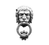 Old style lion`s head knocker isolated on white. stock photo