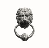 Old style lion`s head knocker isolated on white. stock images