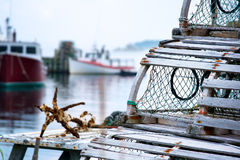 Old style lobster traps Stock Photo