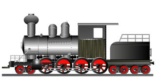 Old style locomotive. Old style steam engine locomotive on tracks Royalty Free Stock Photo