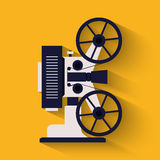 Old style movie camera flat icon. Retro Cinema projector. Vector illustration Royalty Free Stock Images