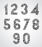 Old style numbers with hand drawn curly lines pattern. Royalty Free Stock Photography