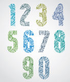 Old style numbers with hand drawn curly lines pattern. Royalty Free Stock Images