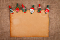 Old style paper with Christmas ornaments Stock Photo