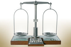 Old style pharmacy scale is empty and balanced Stock Photos