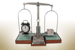 Old style pharmacy scale with money heavier than clock Stock Images