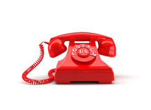 Old style phone with contact us words. 3D rendering. Stock Photos