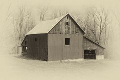 Old Style Photo of a Barn. Old style sepia colored farm barn Stock Photography