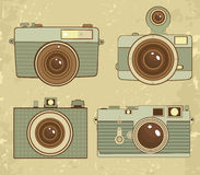 Old style photo cameras collection Stock Photos