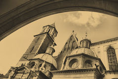 Old style photo of Cathedral at Wawel Stock Image