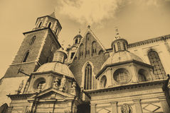 Old style photo of Cathedral at Wawel hill Royalty Free Stock Photos