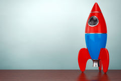 Old Style Photo. Childs Toy Rocket. 3d rendering Stock Image