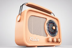 Old Style Photo. Closeup Vintage Radio. On a white background Stock Images