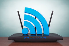 Old Style Photo. 3d Modern WiFi Router Royalty Free Stock Photos