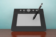 Old Style Photo. Digital Graphic Tablet with Pen Royalty Free Stock Photo