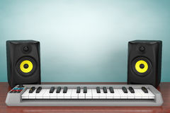 Old Style Photo. Digital Piano Synthesizer with Audio Speakers Stock Photo