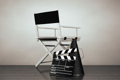 Old Style Photo. Director Chair, Movie Clapper and Megaphone Stock Photography