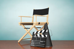 Old Style Photo. Director Chair, Movie Clapper and Megaphone Stock Image