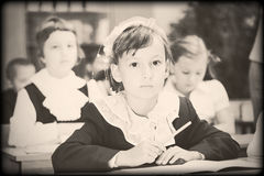Old style photo from elementary age. Old style photo from elementary school years. Real lesson Royalty Free Stock Images