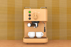 Old Style Photo. Espresso Coffee Making Machine. 3d rendering Stock Image