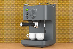 Old Style Photo. Espresso Coffee Making Machine. 3d rendering Royalty Free Stock Photo