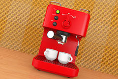 Old Style Photo. Espresso Coffee Making Machine. 3d rendering Stock Photography