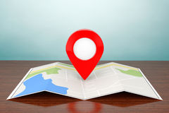 Old Style Photo. Folded Abstract Navigation Map with Target Pin. On the table Royalty Free Stock Photos