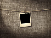 Old style photo  hanging on a clothesline Royalty Free Stock Image