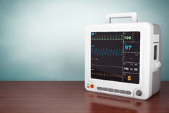 Old Style Photo. Health care portable cardiac monitoring equipment Royalty Free Stock Images