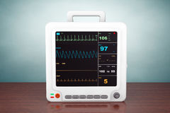 Old Style Photo. Health care portable cardiac monitoring equipment Royalty Free Stock Photos