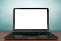 Old Style Photo. Opened Modern laptop with blank screen Royalty Free Stock Photos