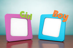 Old Style Photo. Photo Frames with Girl and Boy Signs Royalty Free Stock Photos