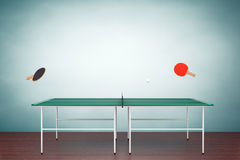 Old Style Photo. Ping-pong tennis table with Paddles Stock Photography