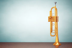 Old Style Photo. Polished Brass Trumpet Stock Photo