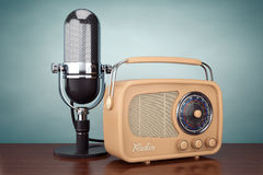 Old Style Photo. Retro Radio and Vintage Microphone. 3d Renderin Royalty Free Stock Image