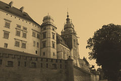 Old style photo of Royal Wawel Castle, Cracow Stock Photos