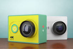 Old Style Photo. Small Ultra HD Action Cameras. 3d Rendering Stock Photography