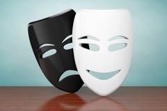 Old Style Photo. Tragicomic Theater Sad and Smile Masks Royalty Free Stock Photo