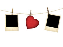 Old style photo and Valentine card heart shaped from old red pap Royalty Free Stock Photography