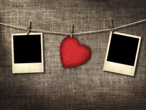 Old style photo and Valentine card heart shaped from old red pap Stock Image