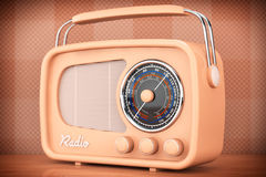 Old Style Photo. Vintage Radio on table. Front wall background Royalty Free Stock Image