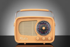 Old Style Photo. Vintage Radio on table Stock Photo