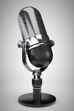 Old Style Photo. Vintage silver microphone Stock Photography