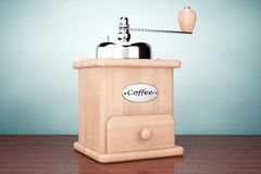 Old Style Photo. Wooden Coffee Mill Stock Photography