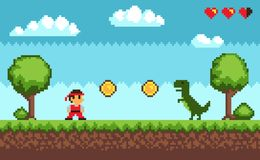 Old Style Pixel Game on Vector Illustration Blue. Old style pixel game , picture representing character and dinosaur, coins and health, trees and bushes, sky and Royalty Free Stock Photos