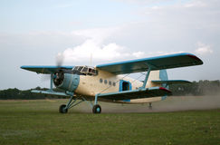 Old style plane flying up. Old style plane flies up to sky Stock Photography