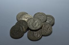 Pile of old style pound coins. Old style pound coins in a pile Royalty Free Stock Photography