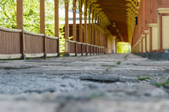 Old style railway station. Abstract defocus view Royalty Free Stock Photo