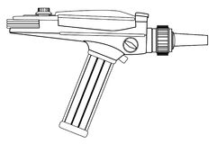 Ray Gun Line Drawing. An old style ray gun as may have been used in 60`s sci-fi movies and TV series in line drawing form Royalty Free Stock Photo