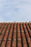 Old style roof tile and blue sky. Old asian style roof tile and blue sky Royalty Free Stock Image